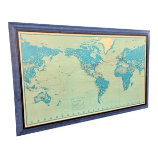 1956 Vintage Pan Am Airlines Flight Route Wall Map
