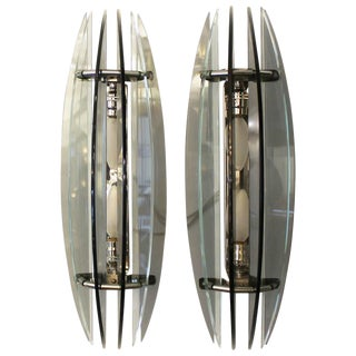Large Pair of Italian Veca Bi-Color Glass Sconces