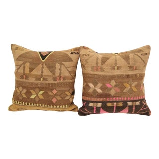 Neon Turkish Kilim Cushions - A Pair