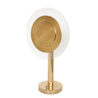 Modernist Brass Lucite Disc Table Lamp