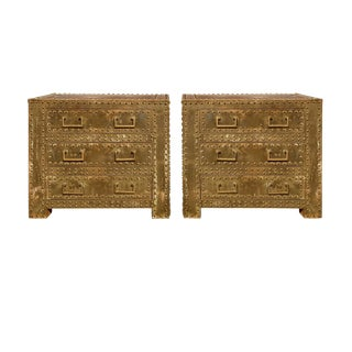 Sarreid Regency Vintage Brass Nighstands - A Pair