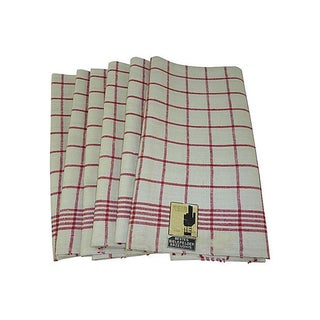 Red Striped Linen Kitchen Towels - Set of 6
