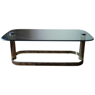Pace Collection Vintage Brass & Glass Coffee Table