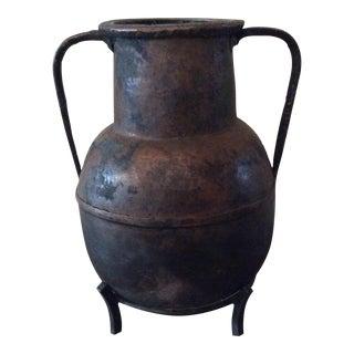 Primitive Moroccan Copper Urn & Stand