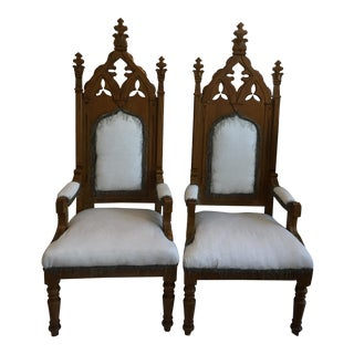 Gothic Bishops Chairs -- A Pair