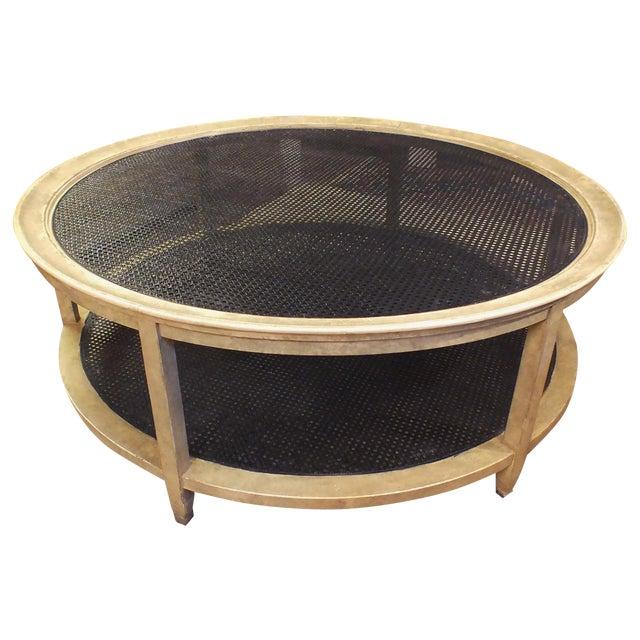 Mid Century 53 Round Coffee Table W Cane Center Chairish