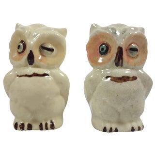 Vintage Ceramic Owl Salt & Pepper Shakers - A Pair