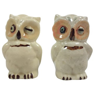 Vintage Ceramic Owl Salt & Pepper Shakers - A Pair
