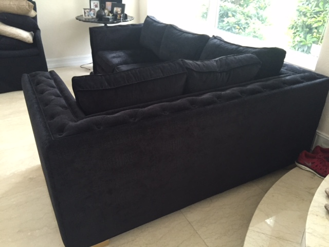 Black Sectional Couches black croc velvet sectional sofa | chairish