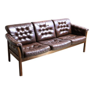Danish Leather Chesterfield Style Dark Brown Sofa on a Wooden Frame