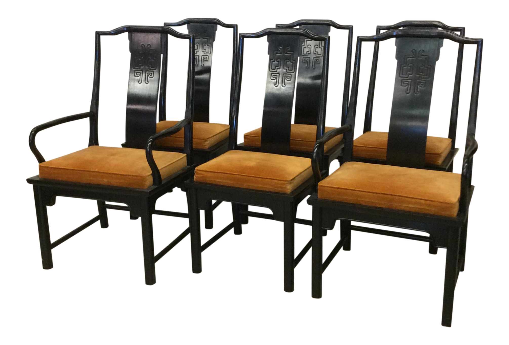 Century Furniture Chin Hua Black Lacquer Dining Chairs Set of 6