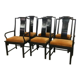 Century Furniture Chin Hua Black Lacquer Dining Chairs - Set of 6