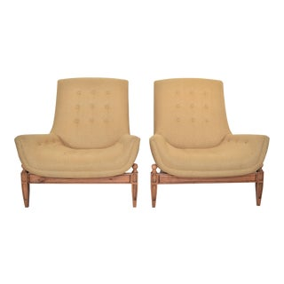 Adrian Pearsall Inspired Mid-Century Modern Upholstered Gondola Lounge Vintage Club Chairs McM- a Pair