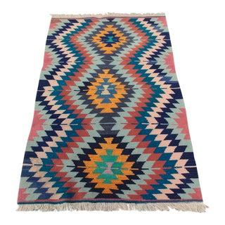 Vintage Multi Colored Turkish Anatolian Kilim - 2′9″ × 4′4″
