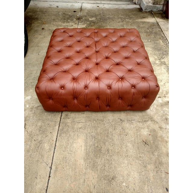 Gambrell Renard Tufted Leather Ottoman - Image 3 of 5