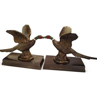 Hand-Painted Brass Pheasant Bookends - A Pair