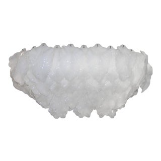 Vintage White Italian Murano Glass Chandelier Leaf