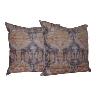 Yellow Vintage Ikat Print Pillows - A Pair