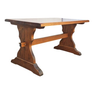 Solid Oak Thick Wood Trestle Dining Kitchen Library Console Rustic Table