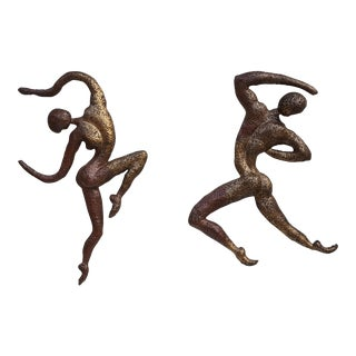 Large Brutalist Abstract Acrobats Bronze Wall Sculptures A Pair.