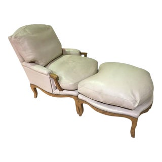 Leather French Style Bergere Chair and Ottoman
