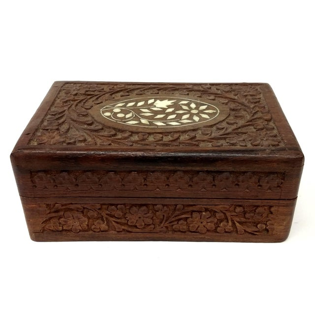 Vintage Sandalwood Carved Trinket Box India - Image 1 of 8