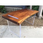 Image of Reclaimed Solid Wood & Lucite Executive Desk