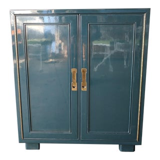 Mid Century Piano Finish Lacquered and Brass Bar/Cabinet by Drexel
