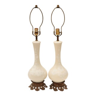 Floral Genie Bottle Table Lamps In Cream - A Pair