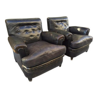 Pair 1930s English Leather Club Chairs