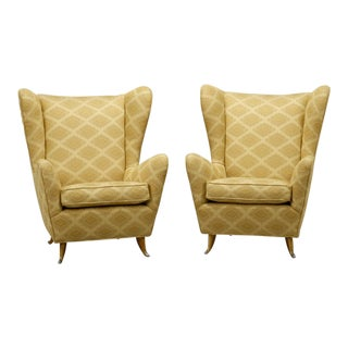 Pair Italian Buffa-Style High Back Wing Chairs with Metal Feet