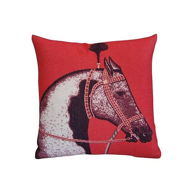 Image of Custom Red Roman Horse Linen Pillows - a Pair