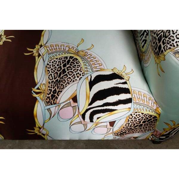 Roberto Cavalli Custom Upholstered Silk Loveseat - Image 4 of 9