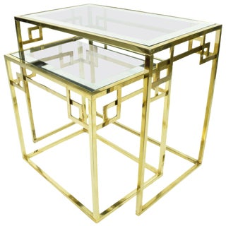 Set of Two Greek Key Classic Italian Nesting Tables