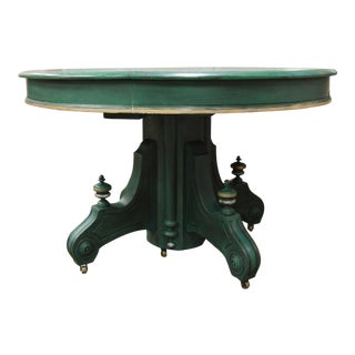 Round Green Table With Scrolled Pedestal