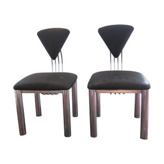Postmodern Black & Chrome Chairs - Pair