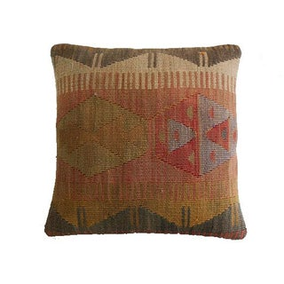 "Vintage Natural Dyed Kilim Pillow - 16""x16"""