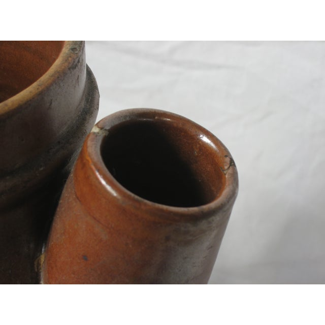 Antique Brown Pitcher With Lid - Image 5 of 6