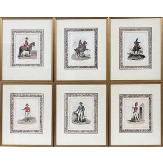 English Hand Colored Etchings - Set of 6