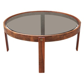 Danish Rosewood Coffee Table With Smoked Glass Top