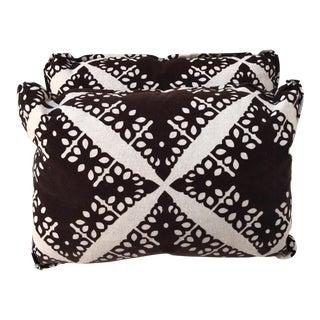 Black Velvet & Silver Pillows - Pair