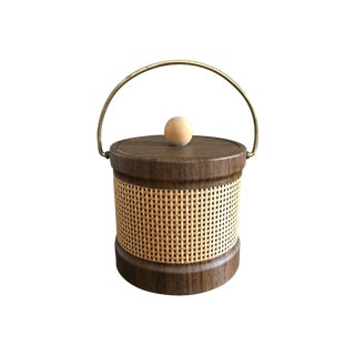 Mid Century Faux Wood and Cane Ice Bucket