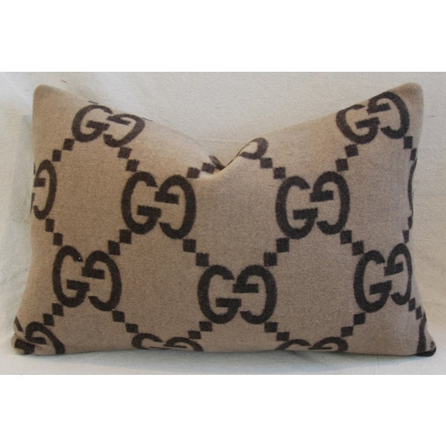 """23"""" X 16"""" Custom Tailored Gucci Cashmere & Velvet Feather/Down Pillows - Pair - Image 9 of 11"""