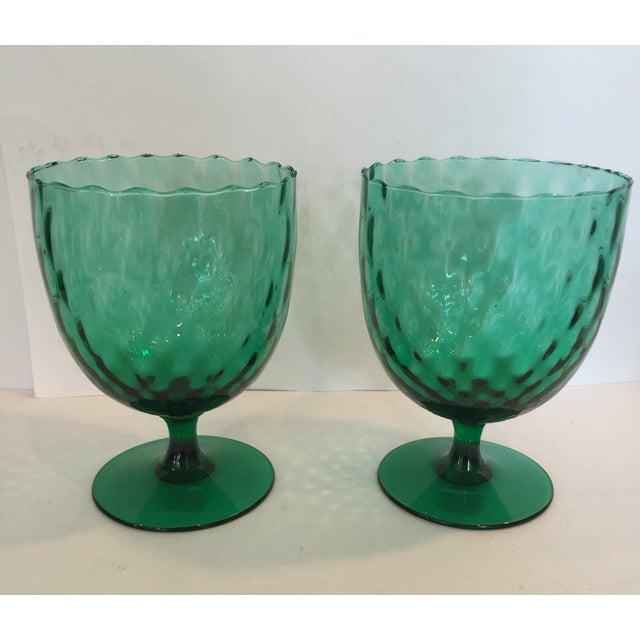 Emerald Green Goblets - A Pair - Image 2 of 4