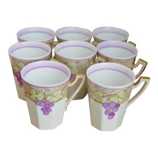 French Limoges Purple Grape Mugs - Set of 8