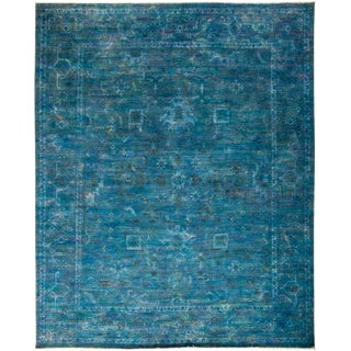 "Overdyed Hand-Knotted Blue Rug - 8'2"" X 9'10"""