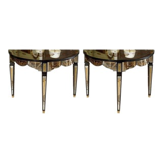 Gilt Decorated Mirrored Demilune Consoles - A Pair