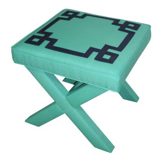 Turquoise & Navy Greek Key X Benches - A Pair