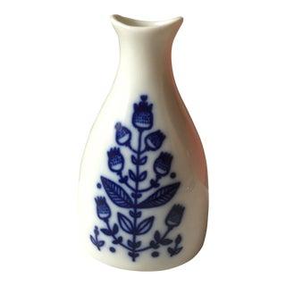 Blue and White Scandinavian Mid-Century Vase