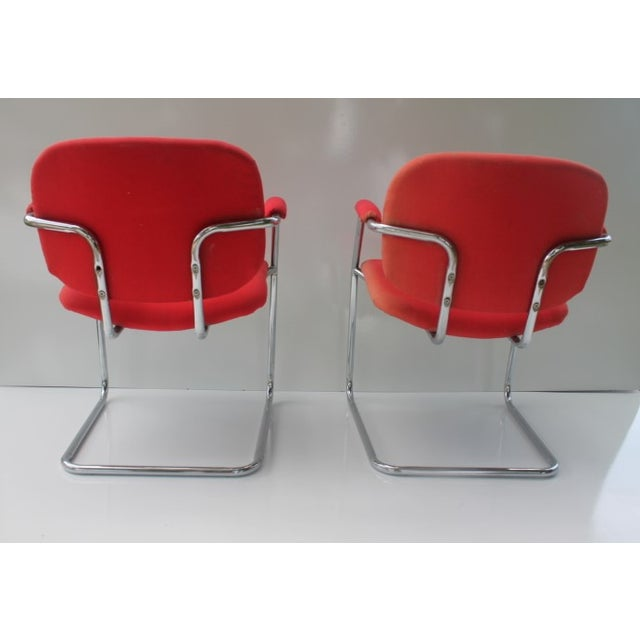 Image of Mid-Century Chrome Accent Chairs - A Pair